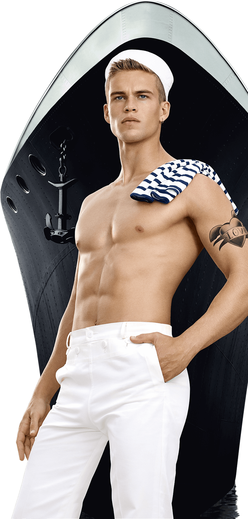 Visual of the new campaign with the shirtless sailor in front of the boat